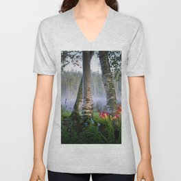 Springtime Calla Lilies in the Birch Tree Grove by the Lake landscape painting Unisex V-Neck