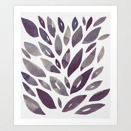 Watercolor floral petals - purple and grey Art Print