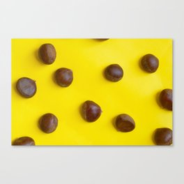 Chestnut pattern on yellow background, ripe chestnuts Canvas Print