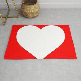 Heart (White & Red) Rug