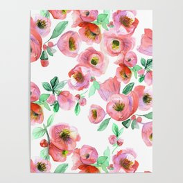 Floral Print Pink Chaenomeles Poster