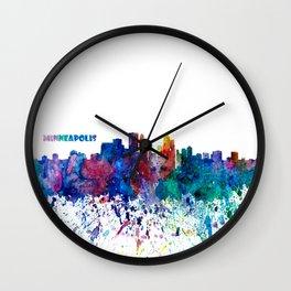 Minneapolis Skyline Silhouette An Impressionistic Blast - Dream Cities Series Wall Clock