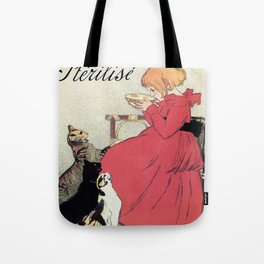 Vintage Art nouveau French milk advertising, cats, girl Tote Bag