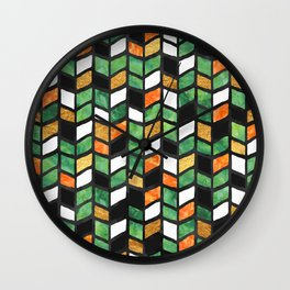Herringbone Golden Jade Wall Clock