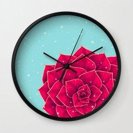Big Holidays Christmas Red Echeveria Design Wall Clock