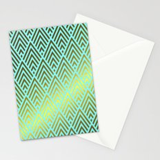 Gold foil triangles on aqua Stationery Cards
