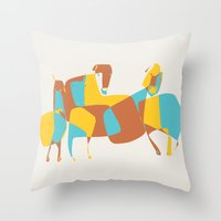 horses Throw Pillows featuring Horses by Pablo Correa