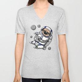 Space Pug Dog Astronaut Unisex V-Neck