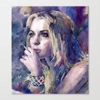 "lindsay lohan Canvas Prints featuring ""Lindsay Lohan"" by Emma Reznikova"