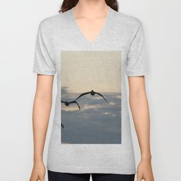 Pelicans in the Sky Unisex V-Neck