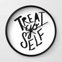 2pac Wall Clocks featuring Treat Yo Self by Leah Flores