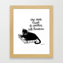 Pizza Box Cat Framed Art Print