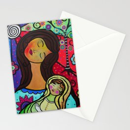 Abstract Mother and Child Painting by Prisarts Stationery Cards