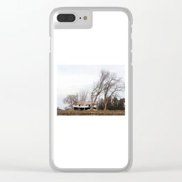 Wind Blown trees and barn Clear iPhone Case