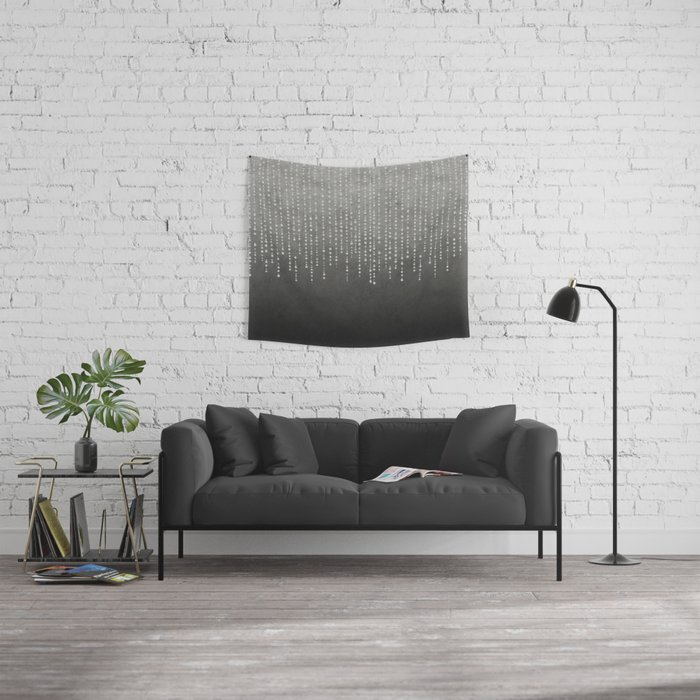 Silver Glamour Faux Glitter on grey Texture Wall Tapestry