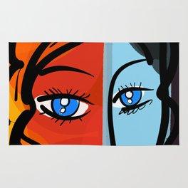 Red Blue Pop Girl Portrait Expressionist Art Rug