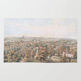 Vintage Pictorial Map of Springfield MA (1851) Rug