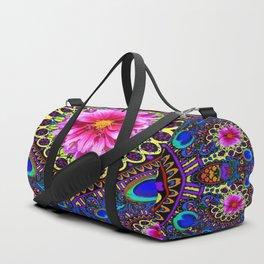 BOHEMIAN  FUCHSIA FLORALS & PEACOCK EYES PURPLE ART Duffle Bag