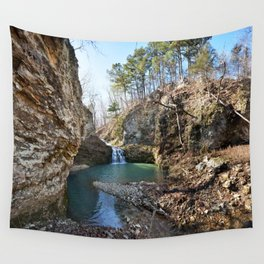 Alone in Secret Hollow with the Caves, Cascades, and Critters - Approaching the Falls Wall Tapestry