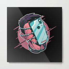 Phone Facehugger Metal Print