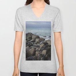 Waves Crashing on Seaweed Covered Rocks Unisex V-Neck
