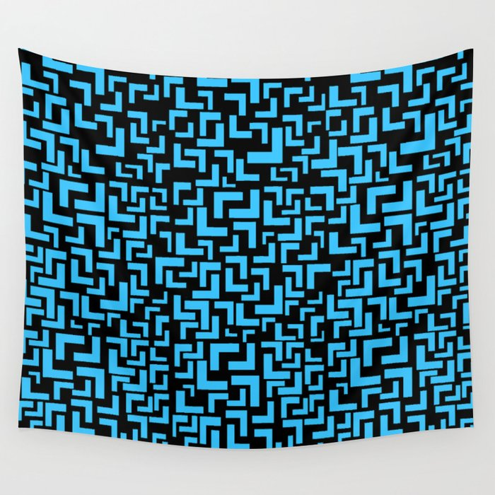 Glitches in the Void, Light Blue Wall Tapestry