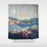 inception Shower Curtains featuring Rolling Mountains by AmandaRoyale