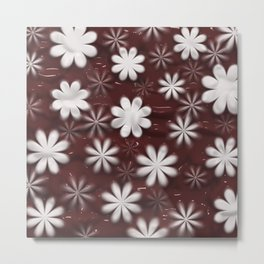 Melted Chocolate and Milk Flowers Pattern Metal Print
