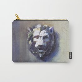Lion Head White Marble Carry-All Pouch