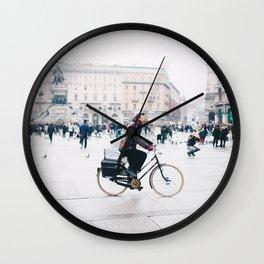 Biking in Milan Wall Clock