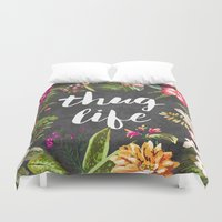 gun Duvet Covers featuring Thug Life by Text Guy