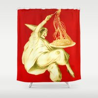 pasta Shower Curtains featuring Pasta Baroni Leonetto Cappiello by aapshop
