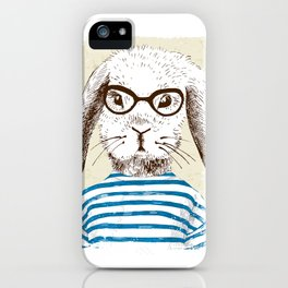 Hipster Rabit with Style iPhone Case