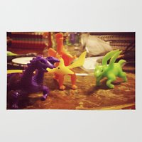dinosaurs Area & Throw Rugs featuring Dinosaurs by Rhiannon