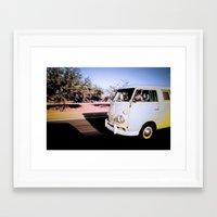 volkswagon Framed Art Prints featuring vintage vw van in tucson by robertbuttery