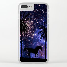Galloping horses under starry sky Clear iPhone Case