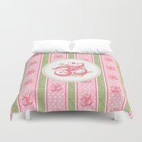 shabby chic Duvet Covers featuring Shabby Chic Om by Genie Wilson