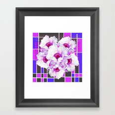 SURREAL  FUCHSIA- PURPLE TREE PEONIES   MODERN ART Framed Art Print