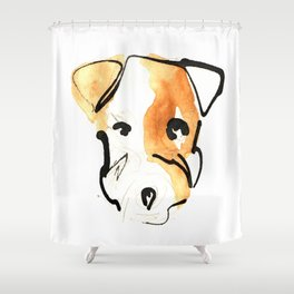 Black Ink and Watercolor Jack Russell Terrier Dog Shower Curtain