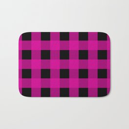 Magenta and Black Check Bath Mat