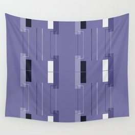"""""""Geometric Works"""" White Hairline with Purple Squares Wall Tapestry"""