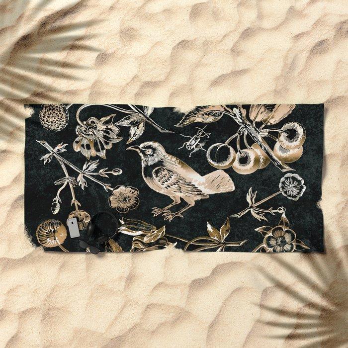 Golden set of birds, beetle, flowers and cherry fruit. Beach Towel