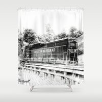 train Shower Curtains featuring Train by Geni