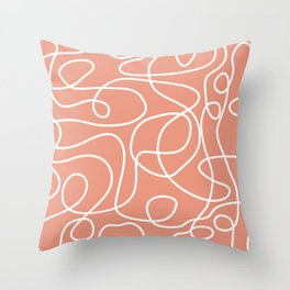 Doodle Line Art | White Lines on Coral Background Throw Pillow