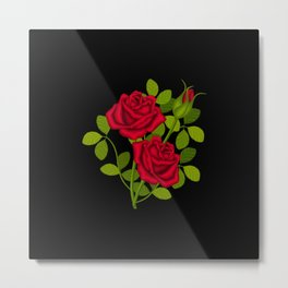Painted Red Roses Metal Print