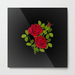 Painted Red Roses Metal Print