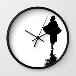 Ocean Beach Skim Black + White Wall Clock