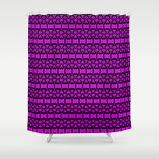 Dividers 02 in Purple over Black Shower Curtain