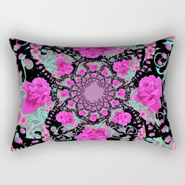 CERISE PINK ROSES & TURQUOISE RIBBONS ON BLACK Rectangular Pillow
