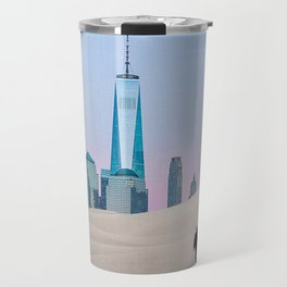 New York City Skyline in the Distance-Surreal Collage Travel Mug
